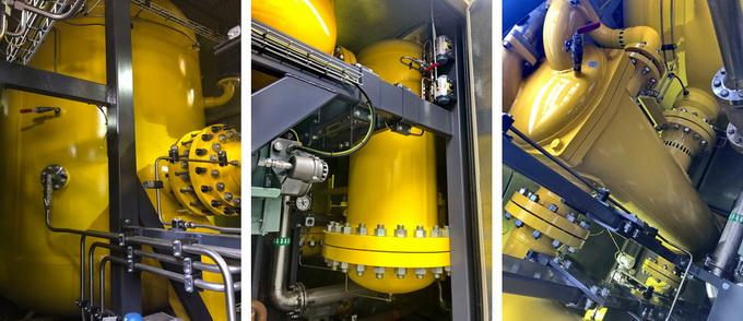 Элементы систем фильтрации и охлаждения газа (слева направо): сепаратор 1-й ступени очистки, фильтр 2-й ступени, теплообменный аппарат
